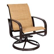 Woodard Cayman Isle Padded Sling Swivel Rocking Dining Arm Chair
