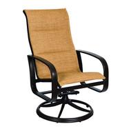 Woodard Cayman Isle Padded Sling High Back Swivel Rocking Dining Arm Chair