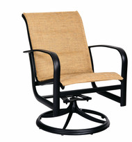Woodard Fremont Padded Sling Swivel Rocking Dining Arm Chair