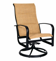 Woodard Fremont Padded Sling High Back Swivel Rocking Dining Arm Chair