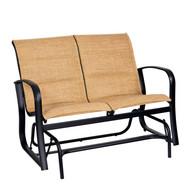 Woodard Fremont Padded Sling Love Seat Glider