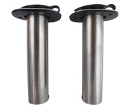 Two 0 Degree Rod Holders 316 Marine Stainless Steel Rubber Cap, Liner, Gasket