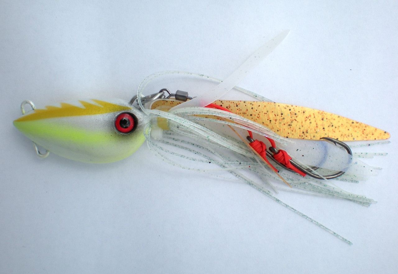 Glow in the Dark Chomp Lures Fishing Octopod Jigs 40g x5 Colours Scented Skirts