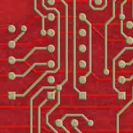 ArtScape 7' Red Circuit Board Pool Table Cloth
