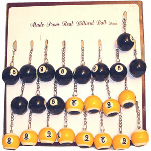 8- & 9-Ball Key Chain Scuffers, Card of 24