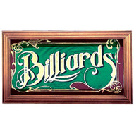 Mirrored Billiards Sign w/Wood Frame