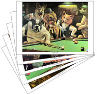 Dogs Playing Pool Prints (Set of All Five)
