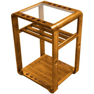 Sterling Deluxe Floor Stand, Oak, 10 Cue w/Ball Rack & Glass Top