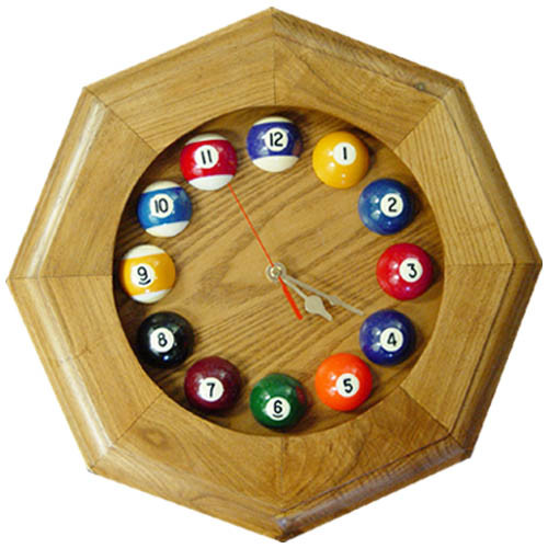 Octagonal Solid Oak Billiards Clock