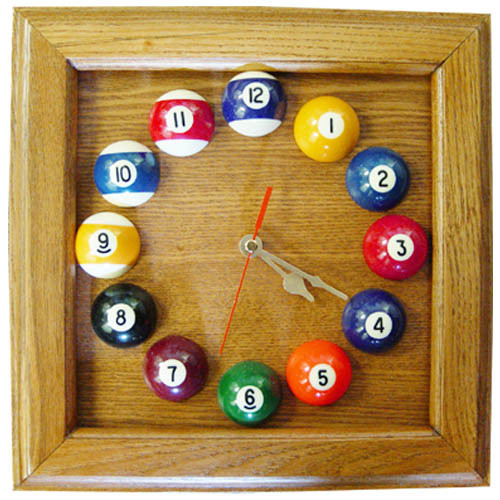 Square Solid Oak Billiards Clock
