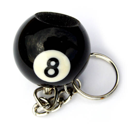 Pool Ball Key Chain and Scuffer, 8-Ball
