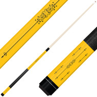 Forged Etched Series ET02 Custom Engraved Yellow Pool Cue – Black