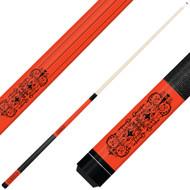 Forged Etched Series ET07 Custom Engraved Orange Pool Cue – Black