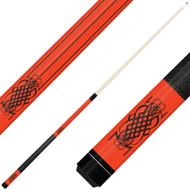 Forged Etched Series ET08 Custom Engraved Orange Pool Cue – Black