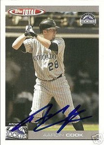 Aaron Cook Signed Colorado Rockies 2004 Total Card