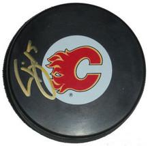 Tim Jackman Autographed Calgary Flames Hockey Puck