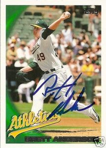 Brett Anderson Signed Oakland A's 2010 Topps Card