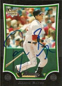 Aaron Bates Signed Red Sox 2009 Bowman Rookie Card