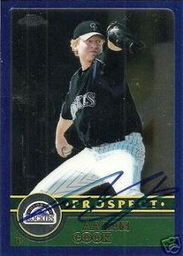 Aaron Cook Signed Colorado Rockies 2003 Topps Card