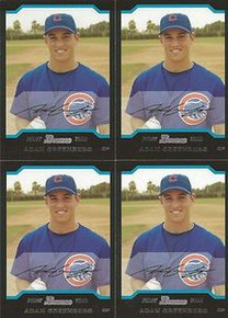 (4) Adam Greenberg 2003 Bowman Rookie Card Chicago Cubs #180