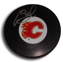 Cory Sarich Autographed Calgary Flames Hockey Puck