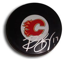 Rene Bourque Autographed Calgary Flames Hockey Puck