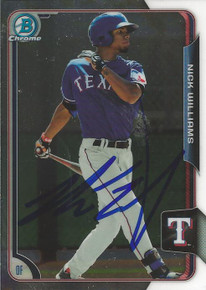 Nick Williams Autographed Texas Rangers 2015 Bowman Chrome Card