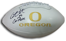 Charles Nelson Autographed Oregon Ducks Logo Football
