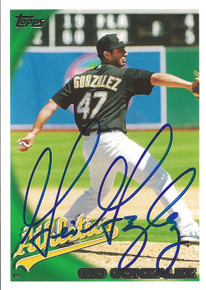 Gio Gonzalez Autographed Oakland A's 2010 Topps Card