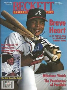Andruw Jones & Albert Belle Signed 1997 Beckett Magazine