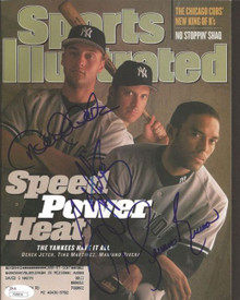 Jeter Rivera Martinez Signed Sports Illustrated Yankees 5/18/98 JSA