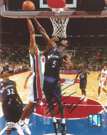 Kwame Brown Autographed Washington Wizards Road 8x10 Photo