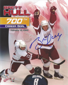 Brett Hull Autographed Detroit Red Wings 700 Goal 8x10 Photo