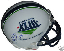 Limas Sweed Signed Super Bowl 43 Mini Helmet Steelers
