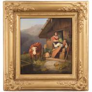 Sebastian Habenschaden (German, 1813-1868) Antique Alpine Painting