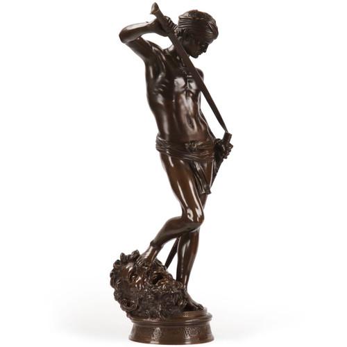 "Antonin Mercié Bronze Sculpture of David Vainqueur, Barbedienne, 34.5"" H"