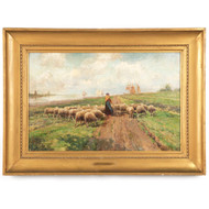 Frans Van Leemputten (Belgian, 1850-1914) Painting of Shepherdess w/ Sheep