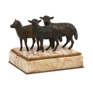 """19th Century Bronze over Marble Paperweight """"Three Lambs"""""""