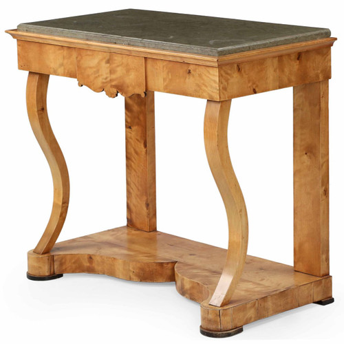 Empire Birch Marble Top Antique Pier Table, Northern Europe c. 1825