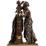 Antique Bronze Sculpture of Woman and Child by Susse Freres
