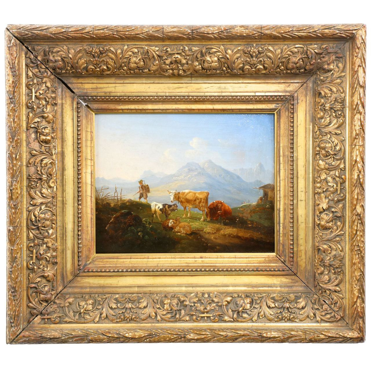Antique German School Mountain Painting Of Cattle And Sheep 19th