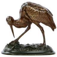 Bronze Sculpture of Cicogne and Crab signed A. Barye F.