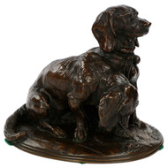 Emmanuel Fremiet Antique French Bronze Sculpture of Basset Hounds