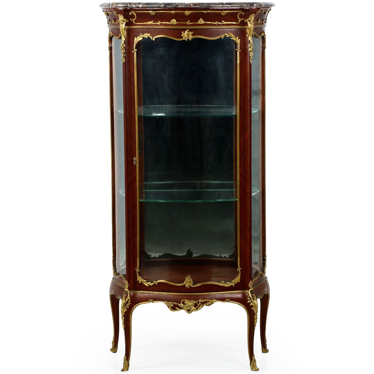 Exquisite French Louis XV Ormolu Mounted Kingwood Vitrine Cabinet - Exquisite French Louis XV Style Vitrine Display Cabinet C. 1880