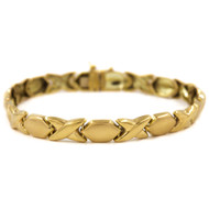 14k Yellow Gold X & O Bracelet by Concept Gold