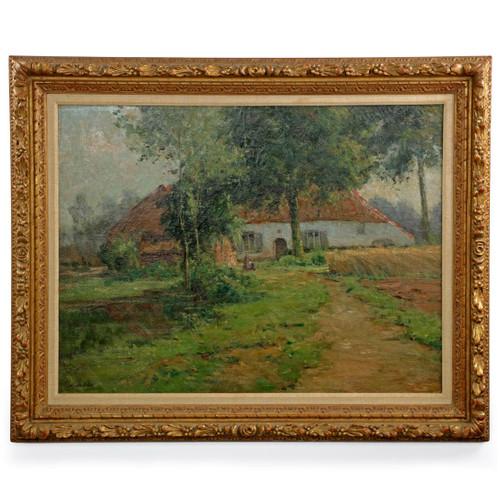 Léon Riket (Belgian, 1876-1938) Landscape Painting of Cottage
