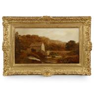 "Robert Gallon (English, 1845-1925) Landscape Painting ""The Sawmill"""