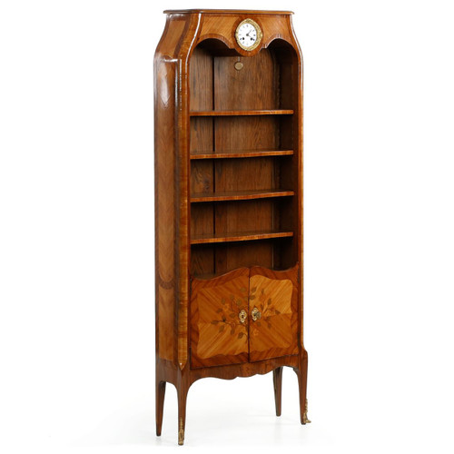 French Louis XV Style Marquetry Inlaid Biblioteque Bookcase