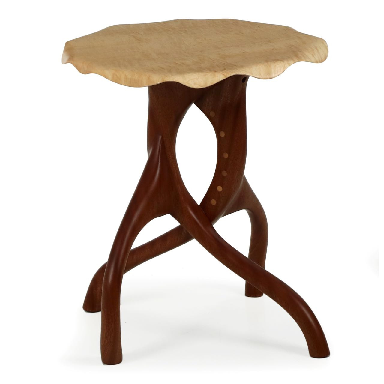 Finely Sculpted Modern Curly Maple And Sapele Side Table C 2016
