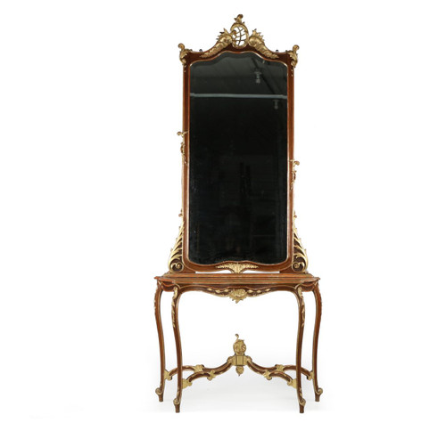 Rococo Parcel Gilt Walnut Pier Mirror and Console Table, 19th Century